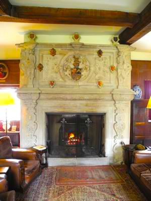 An immense stone fireplace surround, typical of the age, such as Bardán Fury commissioned for the Magi Palace out of green Connemara Marble.