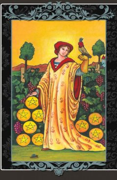 The Nine of Pentacles represents significant financial reward, but one borne of hard work and careful planning on your part; a just reward for prudent actions.