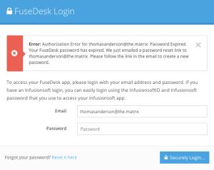 FuseDesk Password Expired