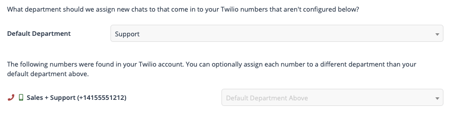 Twilio numbers in FuseDesk can be configured to both send and receive SMS messages.