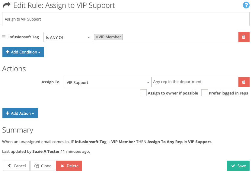 FuseDesk Automation to Assign to VIP Support by Tag