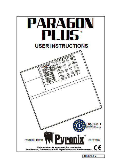 Pyronix Paragon Plus User Manual