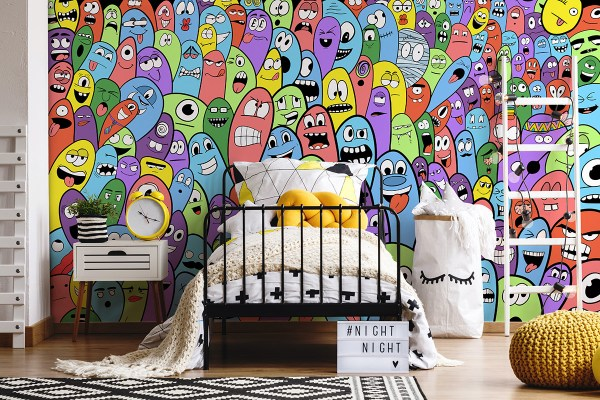 Colourful wallpaper with funny monster faces for bedroom