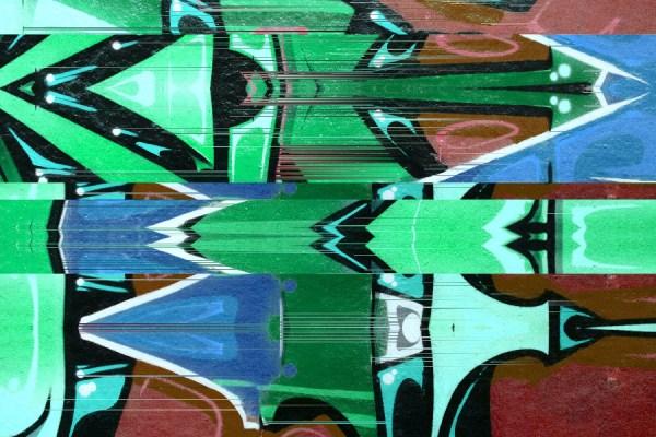Green Urban graffiti glitch mural wallpaper design