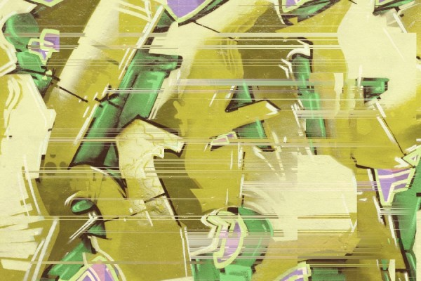 graffiti style mural wallpaper in ochre yellow