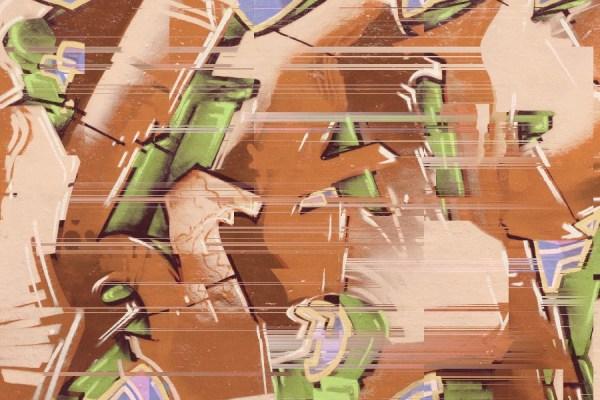 Digital graffiti mural wallpaper in rust brown