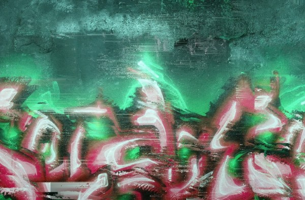 graffiti on distressed wall with digital effects in green