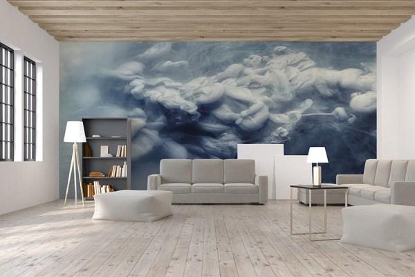 modern mural design behind sofa
