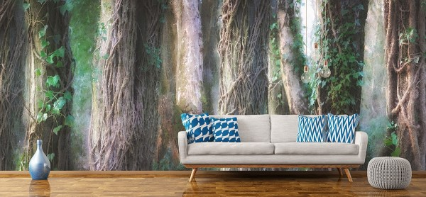 trees and vines forest mural