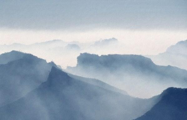 Misty mountains wallpaper mural design