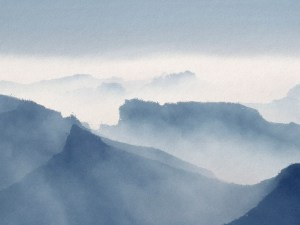 Misty mountains wallpaper mural design