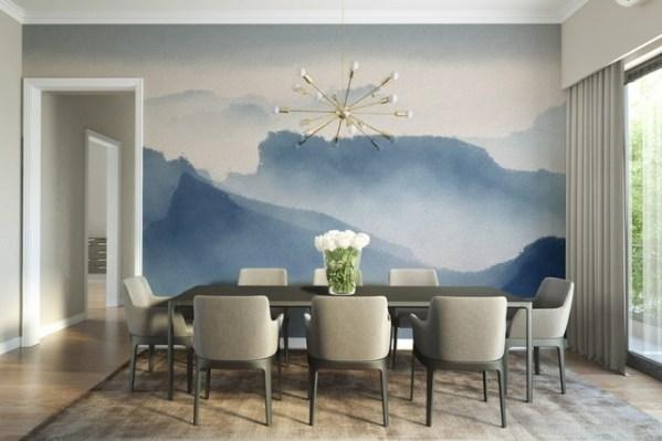 Mountain top misty peaks wallpaper mural design