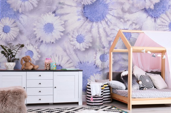blue daisy floral wallpaper in bedroom