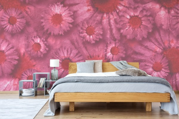 pink daisy floral wallpaper in bedroom