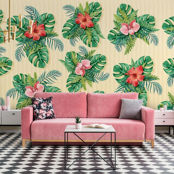 Floral and Foliage mural wallpaper
