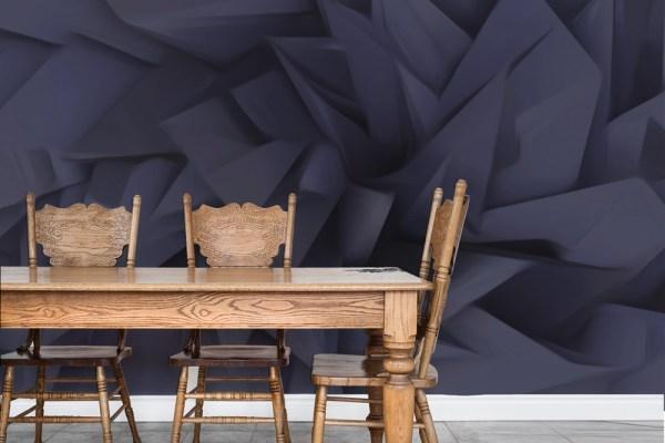 on point wallpaper dark behind chairs