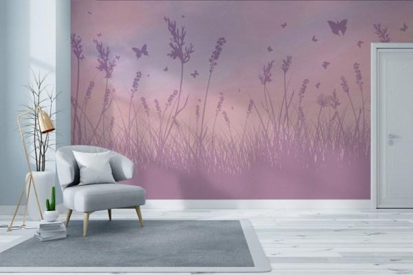 butterfly field wallpaper mural