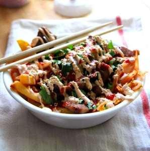 Korean Tex Mex, Pork Kimchi Fries.