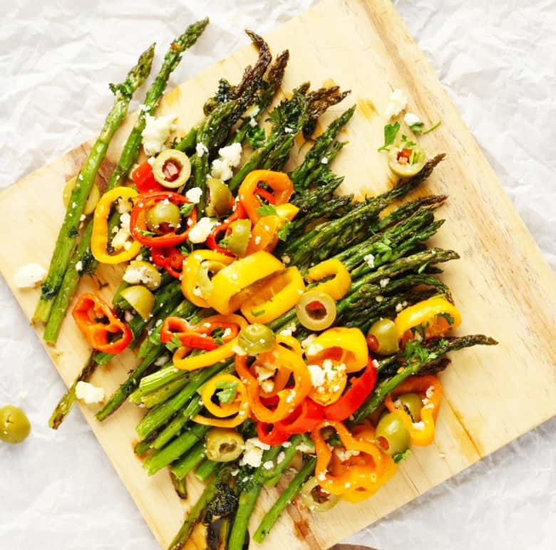Roasted Spring Asparagus with Sweet Peppers and Feta