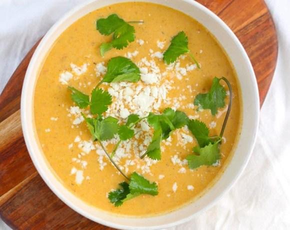 Roasted Vegetable Soup With Tahini & Za'atar