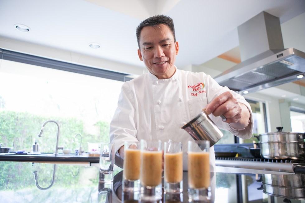 Chef Heng Making Fresh Gazpacho Shooters