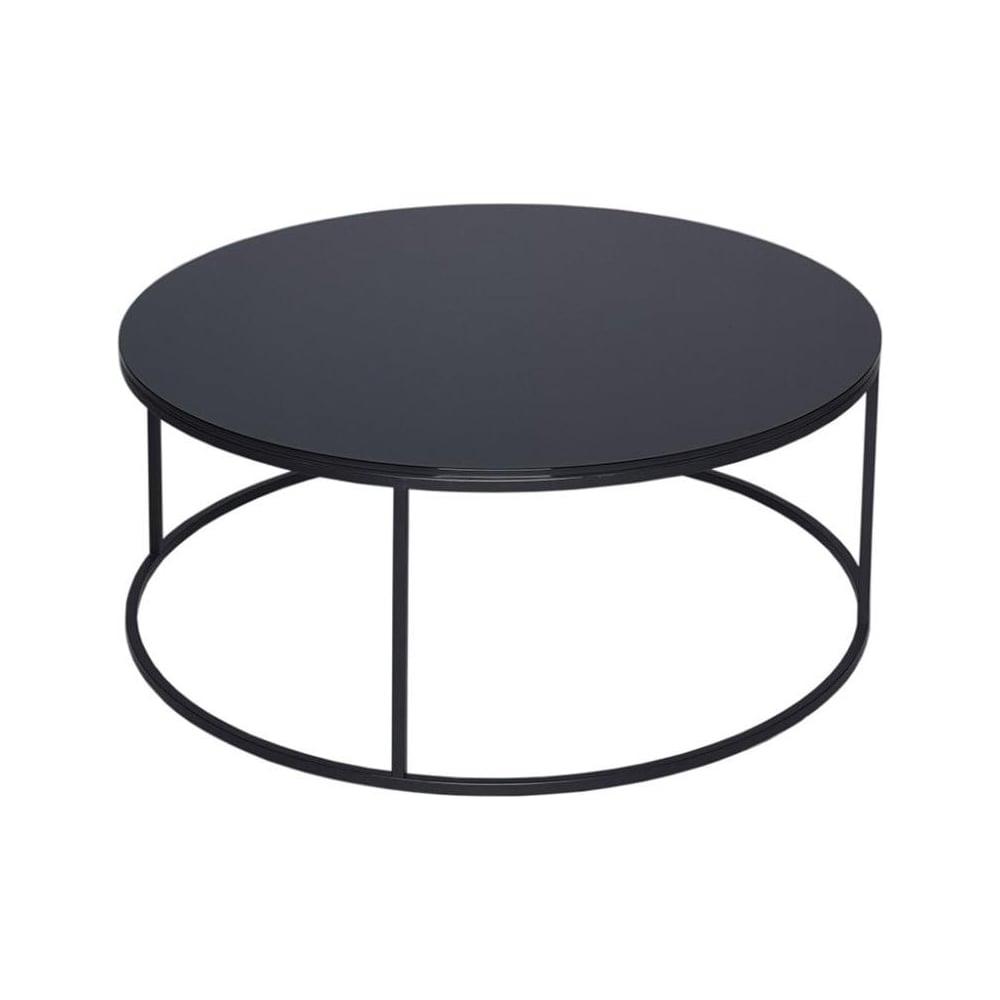 gillmore black glass and black metal contemporary circular coffee table