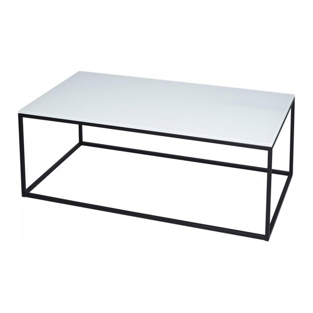 gillmore white glass and black metal contemporary rectangular coffee table