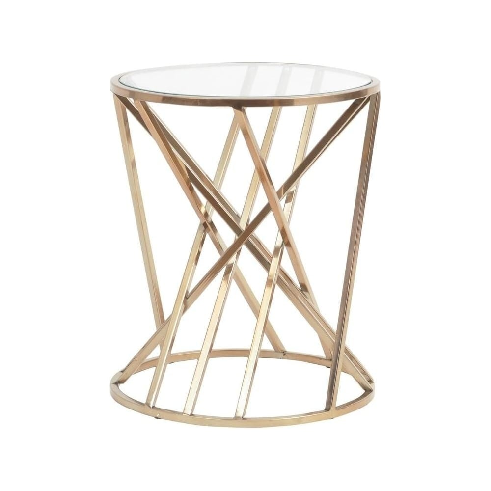 libra furniture gold twist side table with glass top