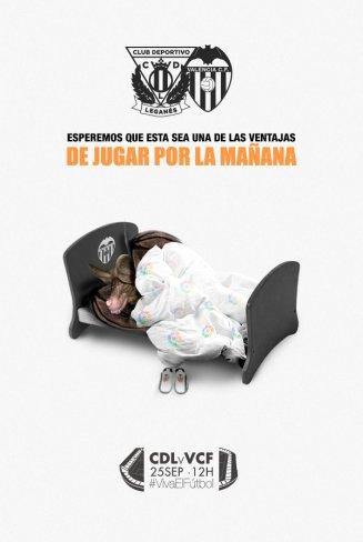 Este es tan solo uno de los muchos ingeniosos carteles que se le han visto al Leganés, lo hicieron previo al duelo ante el Valencia. Cortesía: CD Leganés