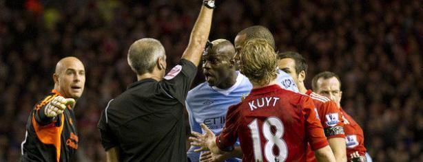 Mario Balotelli, expulsado contra el Liverpool