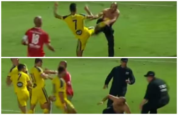 Así quedaron registradas las imágenes del altercado que protagonizó el juego entre Hapoel y Maccabi.
