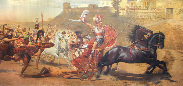 http://commons.wikimedia.org/wiki/File:Triumphant_Achilles_in_Achilleion_levelled.jpg