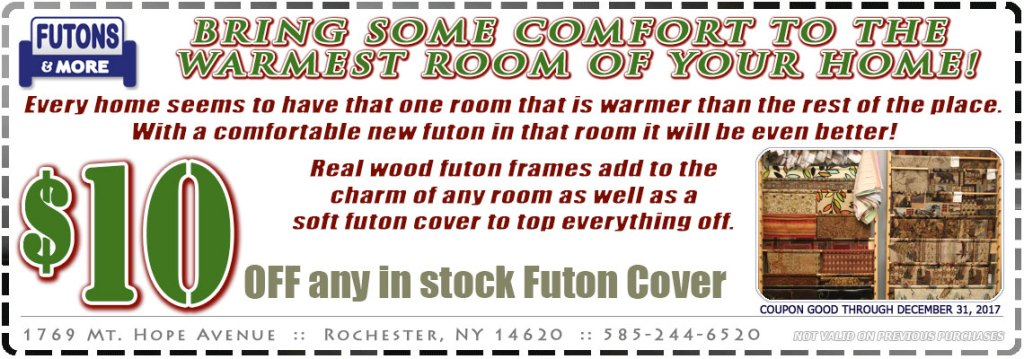 Bring Some Comfort To The  Warmest Room Of Your Home!  Every home seems to have that one room that is warmer than the rest of the place.  With a comfortable new futon in that room it will be even better!   Real wood futon frames add to the charm of any room as well as a soft futon cover to top everything off.