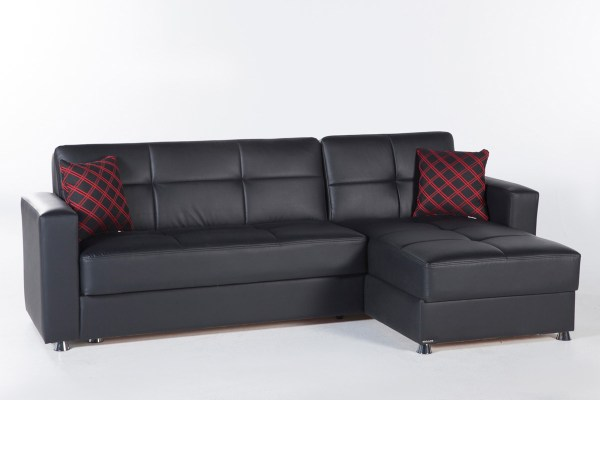 Kimberly Futon Sectional Sofa bed - Black