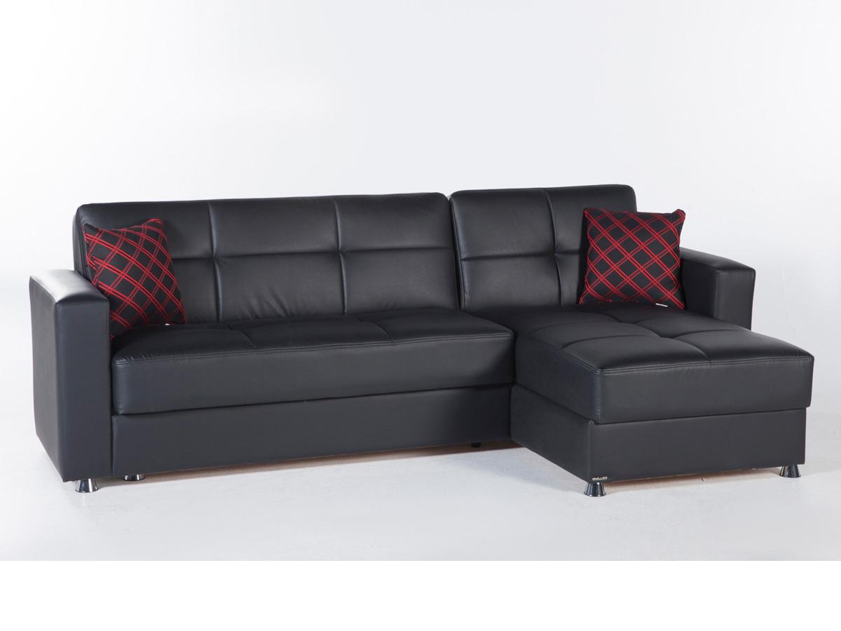 Kimberly Futon Sectional Sofa bed - Black