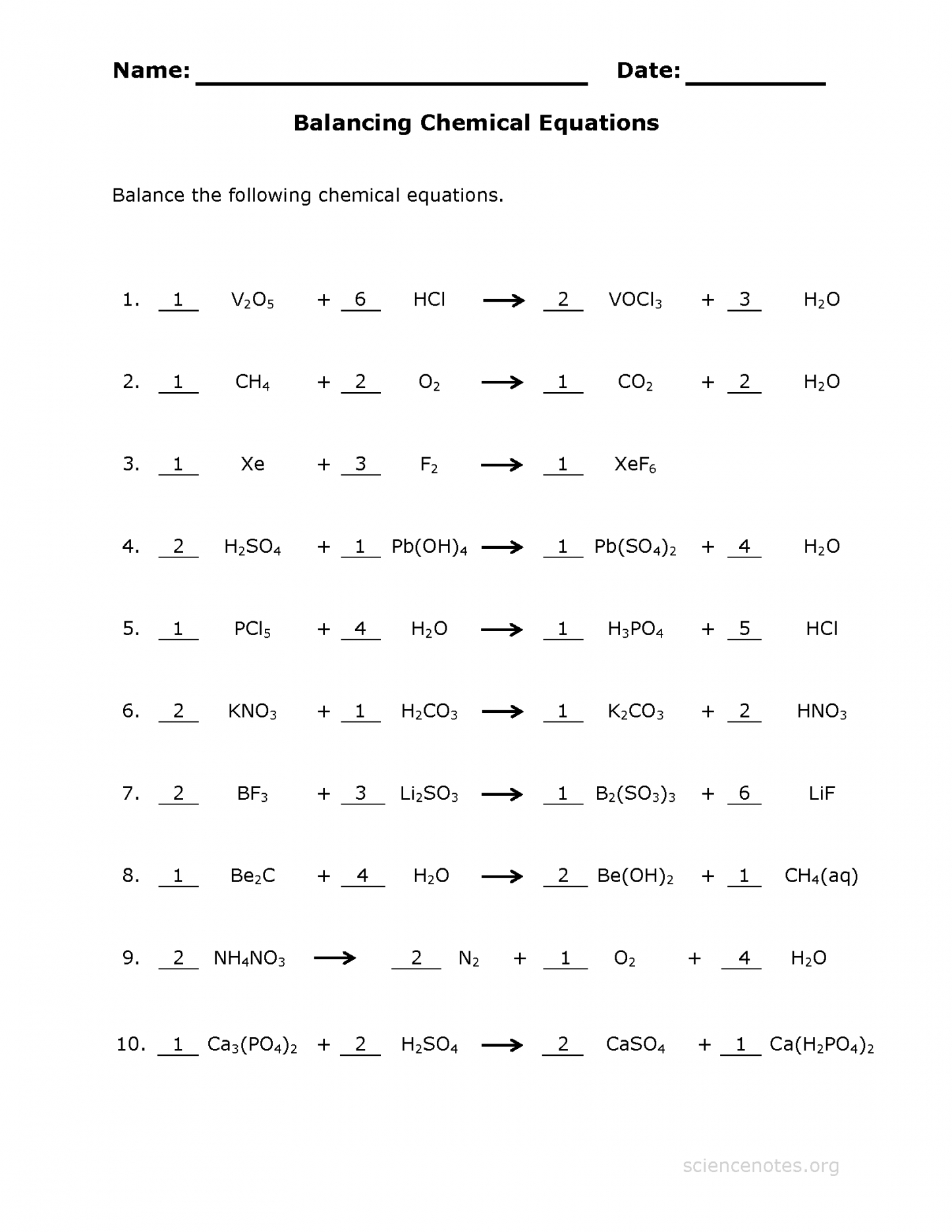 Balancing Chemical Equations Worksheet And Answers