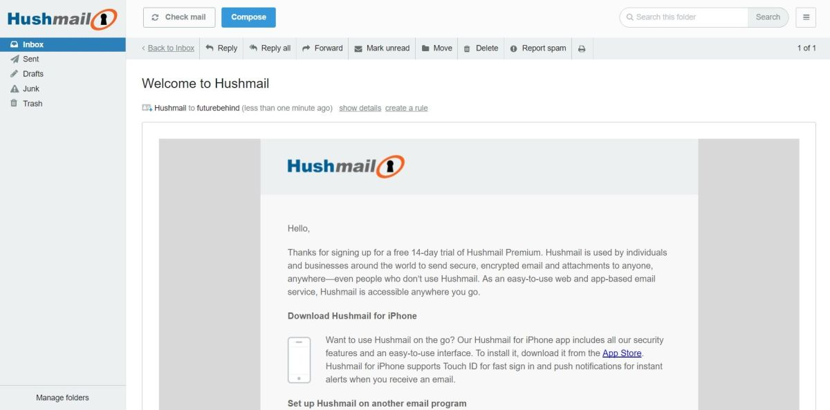 Serviços de email | HushMail