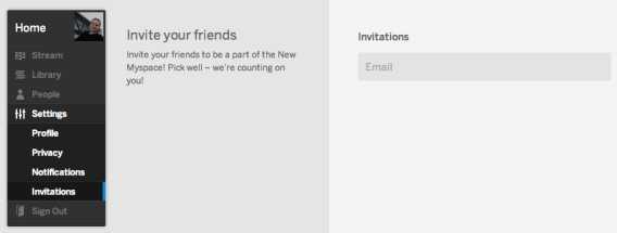 New MySpace - Invite Funktion