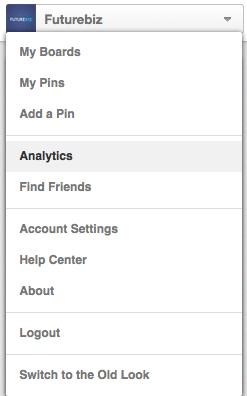Pinterest - Analytics anwählen