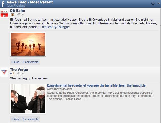 Facebook Newsfeed Darstellung Hootsuite