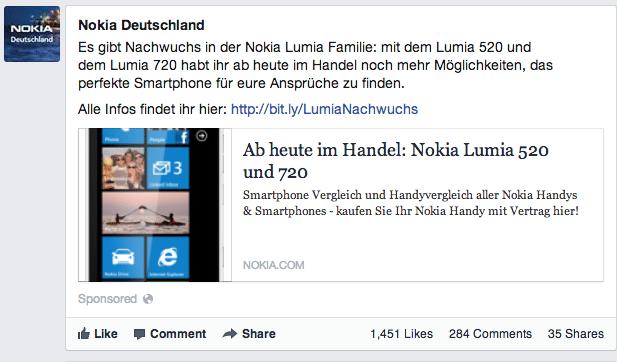 Facebook hervorgehobene Seitenbeiträge - Bsp. Nokia Deutschland