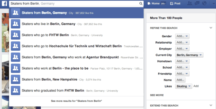 Verbesserte Version Facebook Graph Search