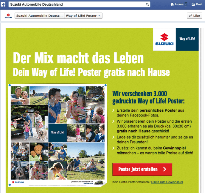 Facebook Kampagne - Suzuki Deutschland Way of Life