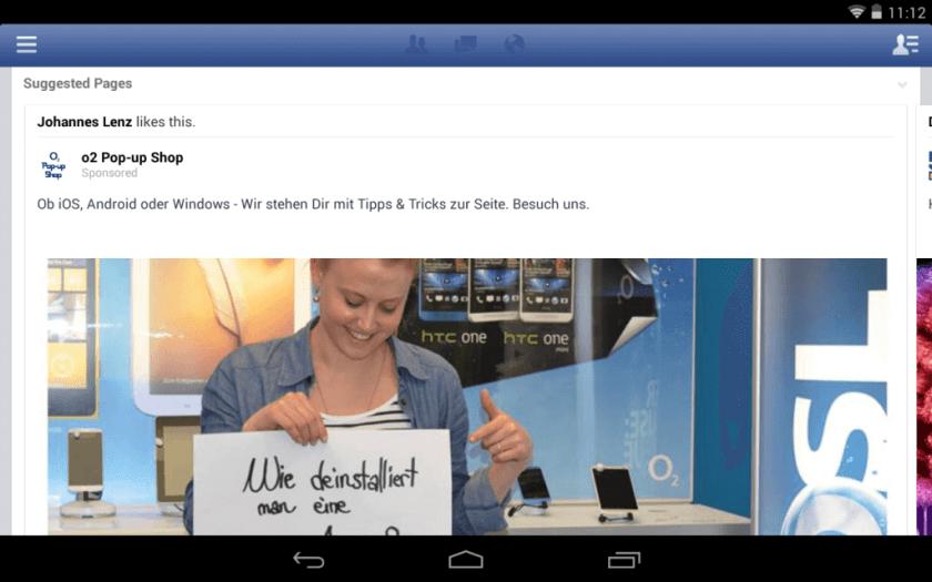 Facebook Mobile Anzeigen News Feed - Beispiel