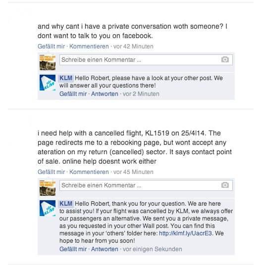 Facebook Kundensupport- Facebook Direktnachrichten oder Nutzerbeiträge