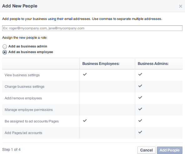 Facebook Business Manager - Admin Rollen