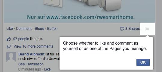 Facebook Beitragsattribution - Kommentare und Likes auf fremden Seiten