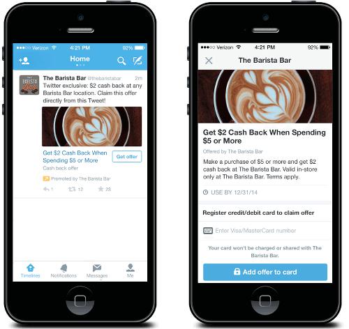 Twitter Offer - Twitter Anzeigen sollen Nutzer in die Filialen führen und zum Kauf animieren. Beispiel The Barista Bar