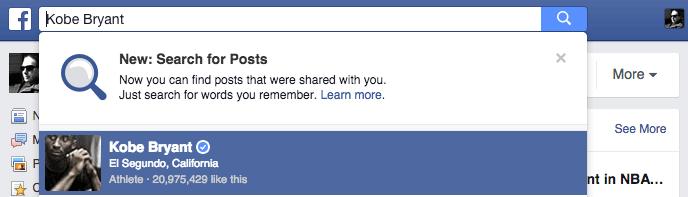 Facebook Suche - Hinweis Facebook
