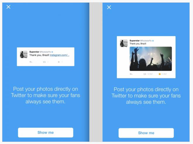 Darstellung Instagram Fotos auf Twitter